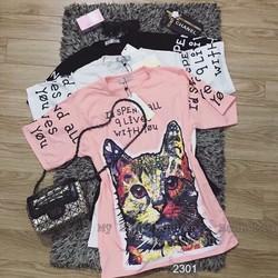 Đầm thun suông hình mèo