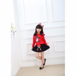 Set áo và chân váy in hình cô gái cho Bé - Đỏ - CIRINO