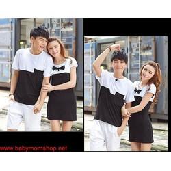 Set áo thun nam trắng đen váy nữ phối nơ cực xinh xắn ACV43
