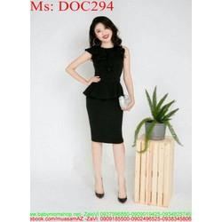 Đầm ôm peplum đen sang trọng và thời trang DOC294