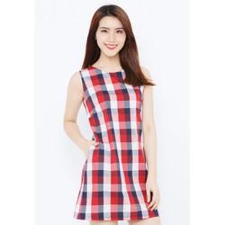 Đầm A sát cánh - Caro đỏ trắng đen - CIRINO