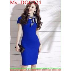 Đầm ôm tay con thiết kế đơn giản màu xanh trẻ trung DOC324