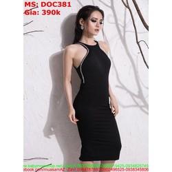 Đầm ôm kiểu yếm phối viền kim sa sang trọng DOC381