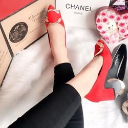 Giày cao gót bít mũi đế vuông Quảng Châu