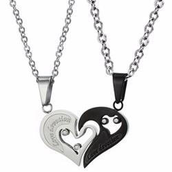 Dây chuyền cặp inox 2 mảnh ghép trái tim đen