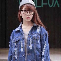 Áo khoác jeans rách nữ