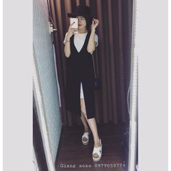 Đầm Cổ Tim Xẻ Tà kèm áo phông rời - VAY15