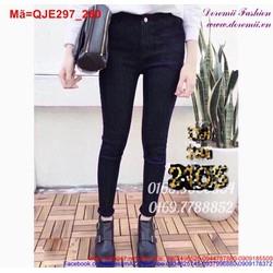 Quần jean nữ lưng cao đen trơn tôn dáng QJE297
