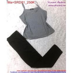 Sét áo hai dây sọc caro, bo eo phối với quần dài trẻ trung SRD81