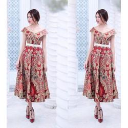 Đầm xoè bẹt vai hoạ tiết thổ cẩm