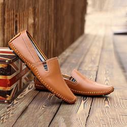 Giày mọi nam thời trang da thật LT930 - màu da cam