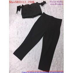 Sét áo croptop với dây áo thắt nơ phối với quần lửng dễ thương SRD112