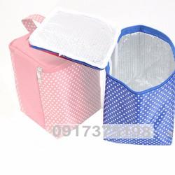 Túi giữ nhiệt vải dù chấm bi nhỏ xanh 12x14x18cm. TX30
