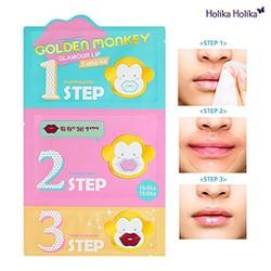 3Bước dưỡng môi Golden Monkey Glamour Lip 3-Step Kit Holika Holika