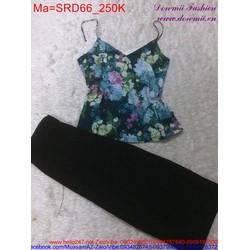 Sét áo hoa phối với quần dài đen trẻ trung, sành điệu