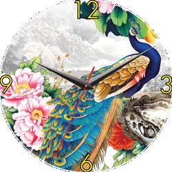 Đồng hồ gỗ tròn Tictac - Chim công 40 cm