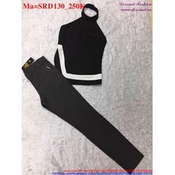 Sét áo kiểu độc đáo phối với quần dài trẻ trung, cá tính SRD130