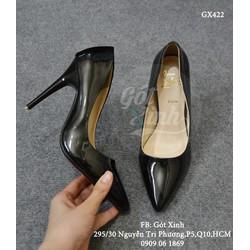 Giày cao gót bít mũi nhọn đế đỏ 10p màu đen_GX422
