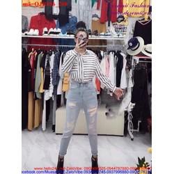 Quần jean nữ rách lưng cao phong cách bụi bặm QJR186