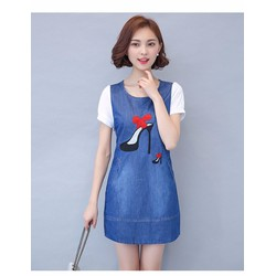 Đầm jean suông đôi hài xinh xắn thời trang - RMS01297