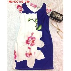 Đầm ôm công sở in hoa cổ V lịch sử trẻ trung DOT59 View
