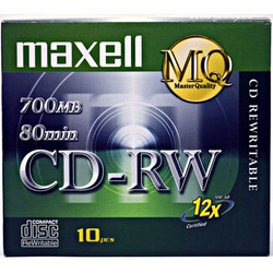 Hộp 10 Đĩa trắng CD-RW Maxell ghi - xóa nhiều lần