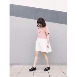 Đầm suông nữ ngắn tay phối màu trẻ trung