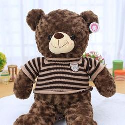 Gấu bông Teddy áo len sọc Choco lông xoăn size  90cm