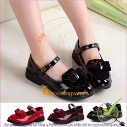 Giày bé gái giá sỉ kiểu công chúa đính nơ GLG042-den