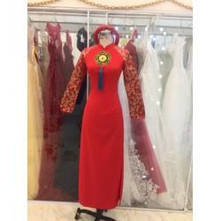 áo dai đỏ tay gấm chất liệu thun co giãn