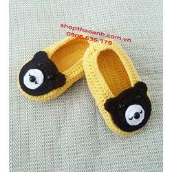 Giày len móc Handmade có lót đế tập đi size 9 tháng - 12 tháng