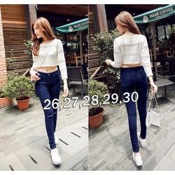 Quần jean nữ lưng cao 1 nút rách 2 bên gối cực hot - AV5379