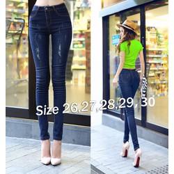 Quần jean nữ lưng cao 1 nút cào rách 2 bên xinh xắn - AV5396