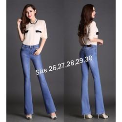Quần jean nữ lưng cao 1 nút xanh lợt wash nhẹ 2 bên cực xinh - AV5395