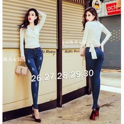 Quần jean nữ lưng cao cào rách 2 bên túi sau đính tag - AV5401