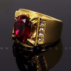 Nhẫn nam gắn đá đỏ cực chất