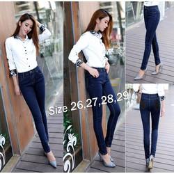 Quần jean nữ lưng cao 2 nút đen cực xinh - AV3409