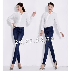 Quần jean nữ lưng cao wash cào nhẹ 2 bên cực xinh - AV5413