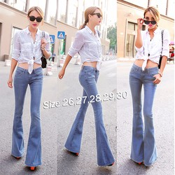 Quần jean nữ lưng cao 1 nút ống loe xanh lợt thật phong cách - AV5402