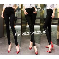 Quần jean đen nữ lưng cao 1 nút rách 2 bên thời trang - AV5388