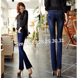 Quần jean nữ lưng cao 1 nút 2 túi sau cào nhẹ xinh xắn - AV5387