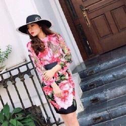 Set Công Sở Áo Chân Váy Hoa Hồng