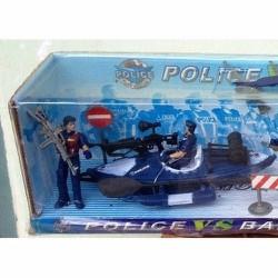 mô hình cảnh sát gồm ca nô cao tốc, thuyền nhỏ, Hộp 57x12x15,5cm