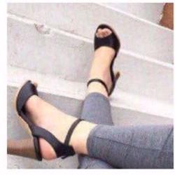 giày gót vuông hở mũi cao 7cm
