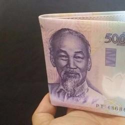 Ví nam - Bóp nam - Ví tiền nam in hình tiền 500K Da PU Cao Cấp