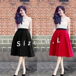 Set áo ren chân váy đỏ nơ đen