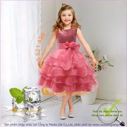 Váy đầm công chúa xếp lớp GLV031 đính kim sa