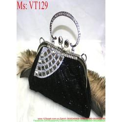 Ví cầm tay dự tiệc đen đính đá sang trọng và quý phái VT129