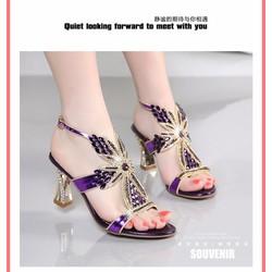 Giày sandal nữ Da cừu quai ngang
