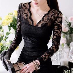 Váy ren cổ V nữ tính